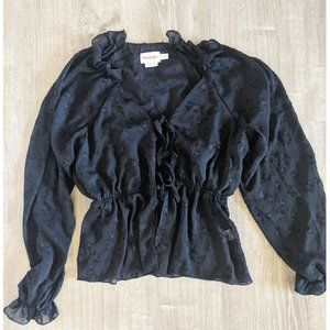 BLACK Sheer BLOUSE WITH BOW DETAIL SEMI SHEER PUFF